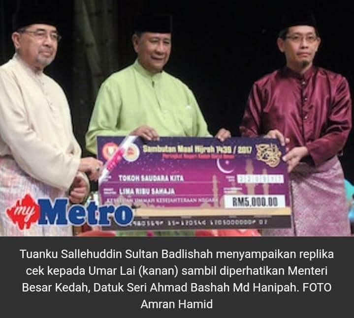Saudara Umar Lai - ahli MACMA Kulim yang mendapat anugerah dari Negeri Kedah